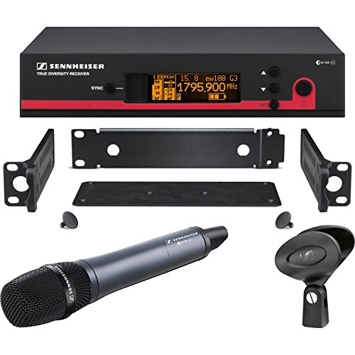 Rackmount Kit Wireless Microphone - Sennheiser ew 135 G3 Wireless Handheld Microphone System, EM 100 G3 Receiver, SKM100 G3 Transmitter with e 835 Capsule, GA 3 Rackmount Kit, G 566-608MHz