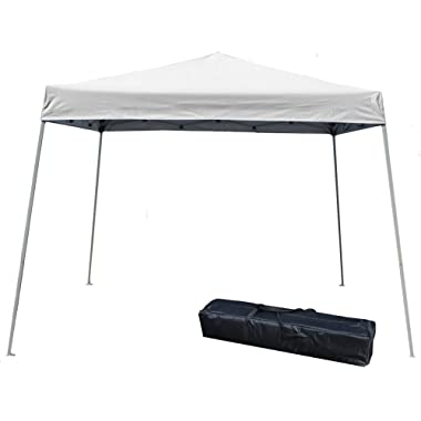 Impact Canopy 10' x 10' Pop-Up Canopy Tent, Instant Slant-Leg Portable Shade Tent with Carrying Bag, White