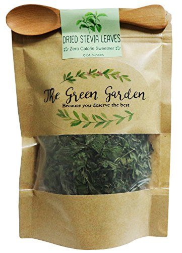100% Dried Pure Stevia Leaves Herbal Tea, Natural Sweetener Diet 0.64 Oz. (20 g.) All Natural Ingredients, Nontoxic, Safe And Healthy in Zipper Packaging and Get Free a Wooden Spoon