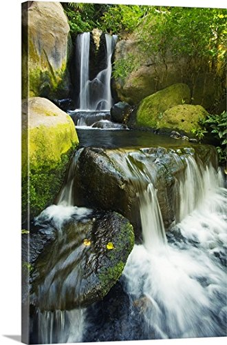Hawaii Waterfall (Ron Dahlquist Premium Thick-Wrap Canvas Wall Art Print entitled Hawaii Maui, Makena, Waterfall 32