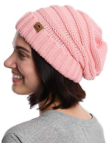 Slouchy Cable Knit Cuff Beanie - Chunky, Oversized Slouch Beanie Hats for Men & Women - Stay Warm & Stylish - Serious Beanies for Serious - Cable Knit Hat Chunky
