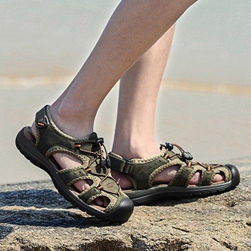 Gomnear Menn Lær Sandal Lukket Tå Sommer Strand Sandaler Tøffel Vann Sko Khaki