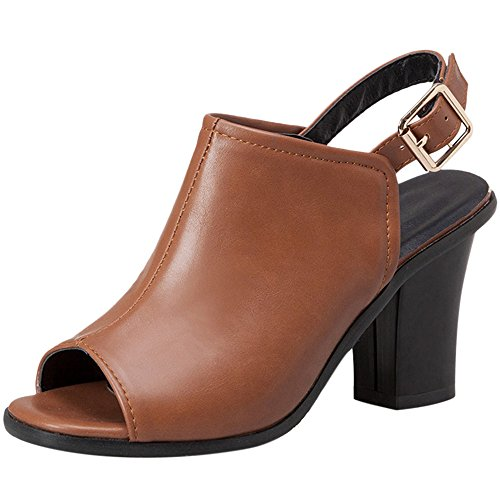 Coolcept Women Summer Sandals Block Heel Brown EG845