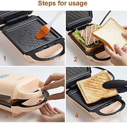 LXTIN Mini Grille-Pain Sandwich 2 en 1, gaufrier, Grille-Pain avec plaques antiadhésives Amovibles, poignée Cool Touch 460W, Beige