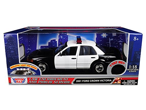 Motormax 2001 Ford Crown Victoria Police Car Plain Black & White with Flashing Light Bar, Front and Rear Lights and Sound 1/18 Diecast Model Car 73991
