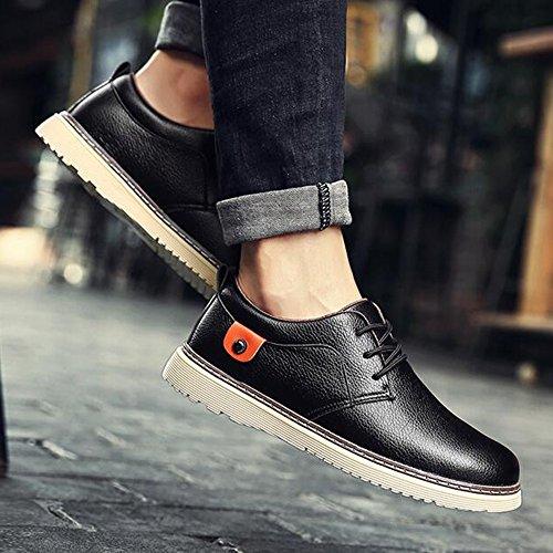 Men's Shoes Feifei Winter Fashion Casual Leather Shoes 4 Colors (Color : 01, Size : EU42/UK8.5/CN43)