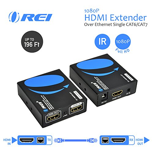 1080p Hdmi Extender (OREI 1080p HDMI Extender Over Ethernet Single CAT6/CAT7 - Upto 196 Feet - Uncompressed - Zero Latency - IR Remote)