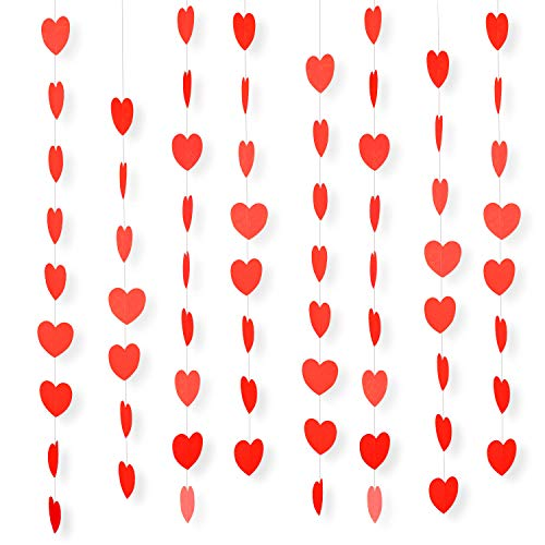 WXJ13 7 Pack Red Paper Heart String Garland Decorations Total Length 41.3 Feet/13.7 Yards, Wedding Birthday Party Baby Shower Background Decorations