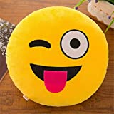 Weiliru ✿✿Smile Pillowcase Cotton Linen Smile Sunshine Yellow Square Cushion Cover for Child Home Decorative Sofa Armchair Bedroom Livingroom 32cm
