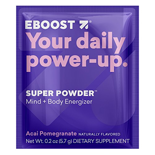 Effervescent Powder Packets (EBOOST SUPER POWDER Mind + Body Energizer, Acai Pomegranate | Blend of Vitamins, Electrolytes & Antioxidants for Steady Energy and Focus (20 Count))