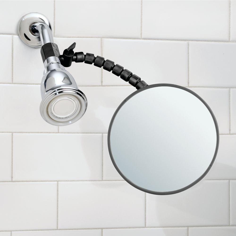 mDesign specchietto bagno – ideale specchio da trucco anti-appannamento – specchio da barba facile da fissare al tubo della doccia - nero MetroDecor 9079MDBST