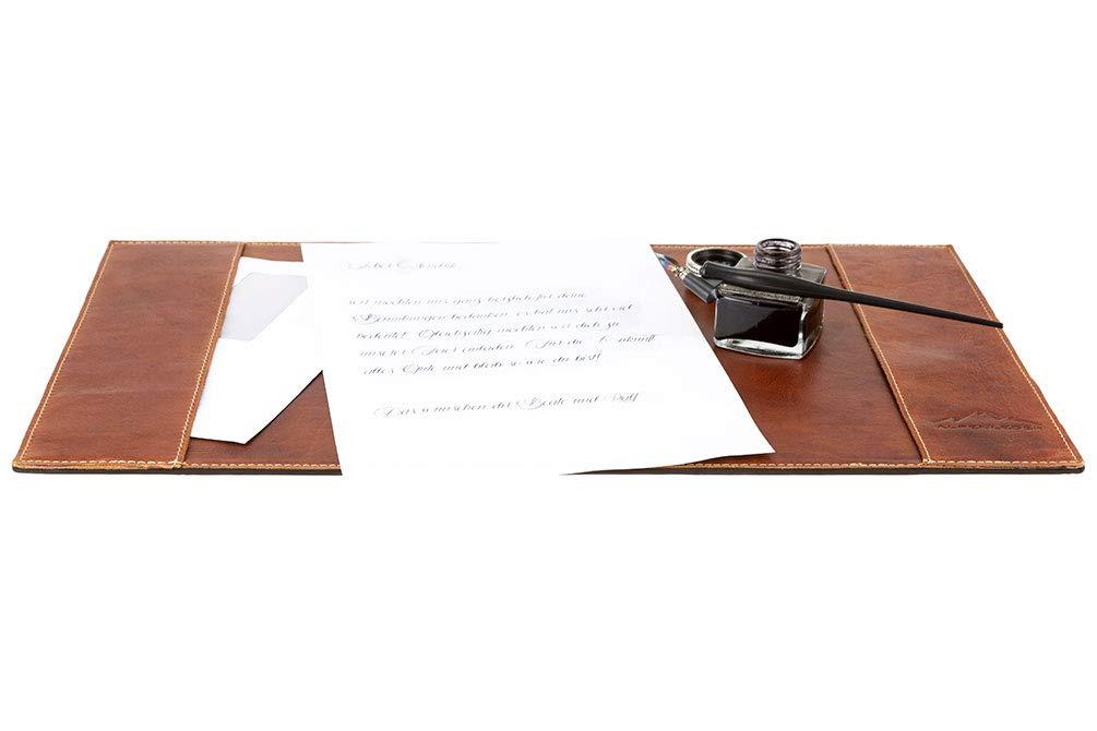 Coffee Cuero De B/úfalo Oficina Alfombrilla Desk Pad Marr/ón Almohadilla De Escritorio PIEMONT A3 By Alpenleder