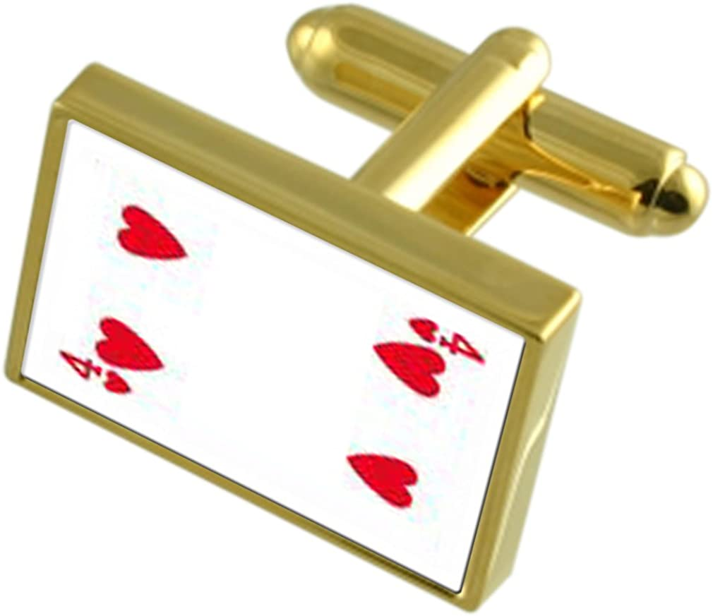 Heart Playing Card number 4 Gole-tone Cufflinks Tie Clip Box Set Engraved Optional