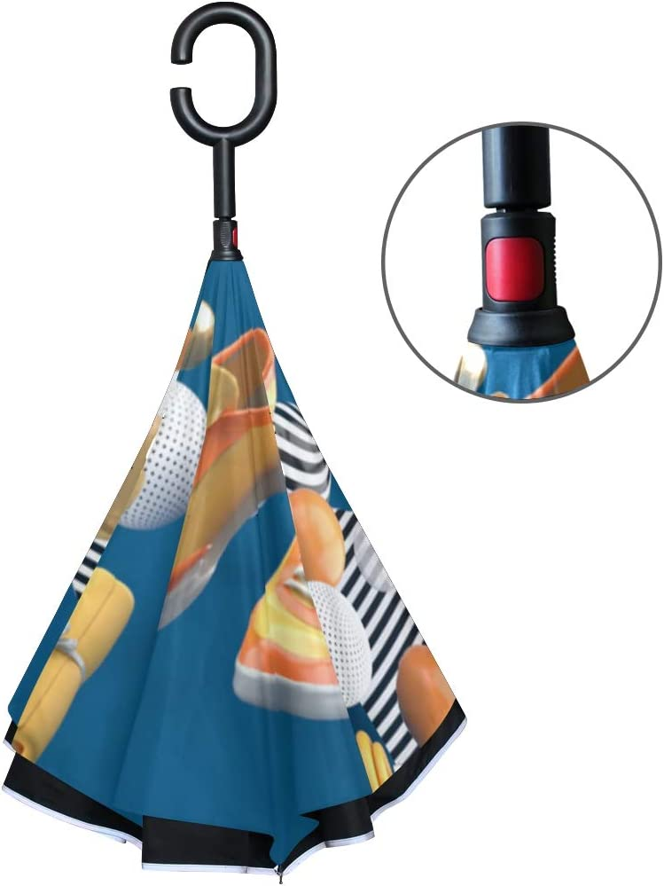 Double Layer Inverted Inverted Umbrella Is Light And Sturdy Dumbbell Running Shoes Orange Towel Among Colorful Reverse Umbrella And Windproof Umbrell