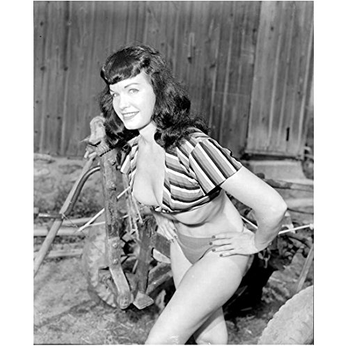 (Bettie Page 8 inch by 10 inch PHOTOGRAPH Teaser Girl in High Heels Teaserama Bettie Page Reveals All B&W Pic from Knees Up Hands on Hips Leaning Forward kn)