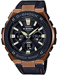 Mens Casio G-Shock G-Steel Black Tough Leather Strap Watch GSTS120L-1A