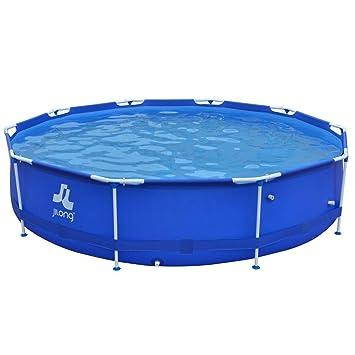 JILONG Sirocco Blue 360 - Marco de Acero Platillos, Redonda Pool, Azul, 360 x 360 x 76 cm, 6125 L, 17236: Amazon.es: Jardín