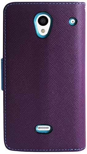 Reiko Premium Wallet Case with Stand, Flip Cover and 3 Card Holders for Sharp Aquos Crystal 306SH - Retail Packaging - Purple (Purple Sharp Aquos Crystal Case compare prices)