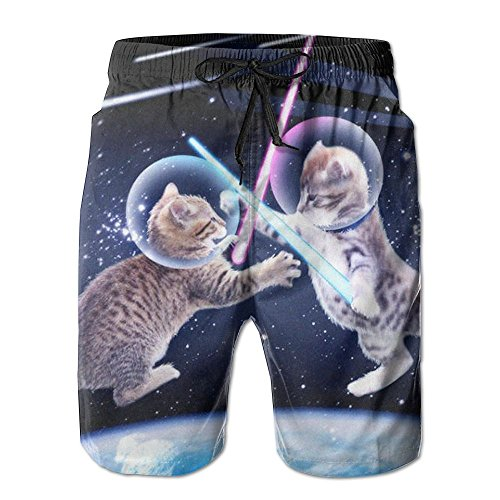 Price comparison product image EMPEROR ARRIVE Mens Board Shorts Elastic Waist Lightweight Fishing Shorts Funny Kitten Cats