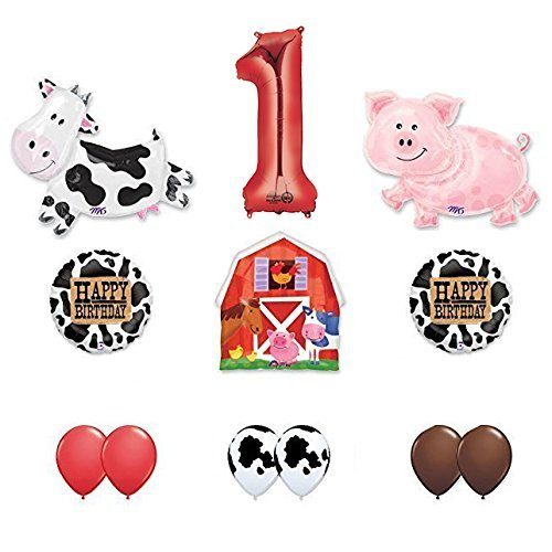 Farm Animals Party Supplies (Barn Farm Animals 1st Birthday Party Supplies Cow, Pig, Barn Balloon Decorations)