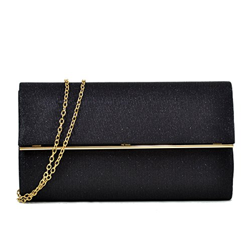 Women Evening Bag Glitter Clutch Purse Wedding Party Prom Handbag w/ Gold Crossbody Chain Strap Large Black (Purse Party Clutch)