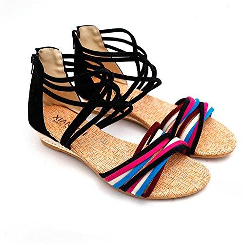 I sandali delle donne di WANGXN combattono le cinghie trasversali di colore dopo la chiusura lampo traspirante , 38