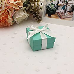 AimtoHome Candy Gift Boxes with Lids and Ribbon Small Square Turquoise Candy Favors Boxes for Wedding Baby Bridal Showers Birthday Party Supply, Pack of 50