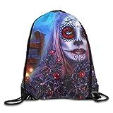 Unisex Digital Sugar Skull Girl Art Drawstring Bag Drawstring Backpack Gym Bag 100% Polyester Material Travel Bag For Men Women