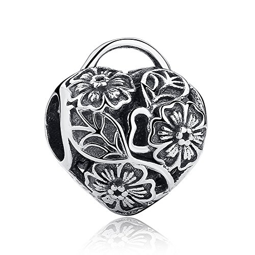 (Everbling Nature Flowers Leaves 925 Sterling Silver Bead Fits European Charm Bracelet (Floral Heart Padlock))