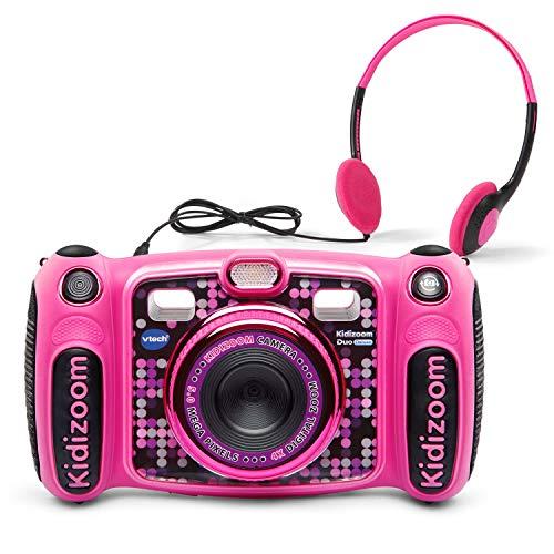 VTech Kidizoom Duo 5.0 Deluxe Digital Selfie Camera with MP3 Player & Headphones, Pink (Renewed)