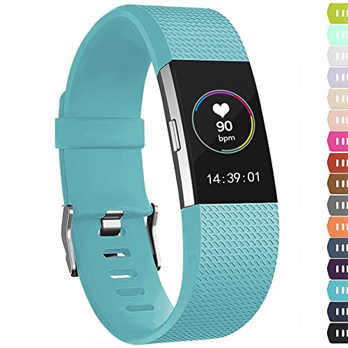 iGK For Fitbit Charge 2 Bands, Adjustable Replacement Bands with Metal Clasp for Fitbit Charge 2 Wristbands Classic Edition Cyan Small