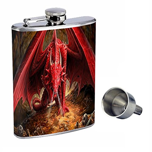 『4年保証』 Perfection Dragon Inスタイル8オンスステンレススチールWhiskey Free Flask with Free Funnel Dragon design-002 design-002 B017FKC85M, シューズプログレス:6c4b4943 --- sabinosports.com
