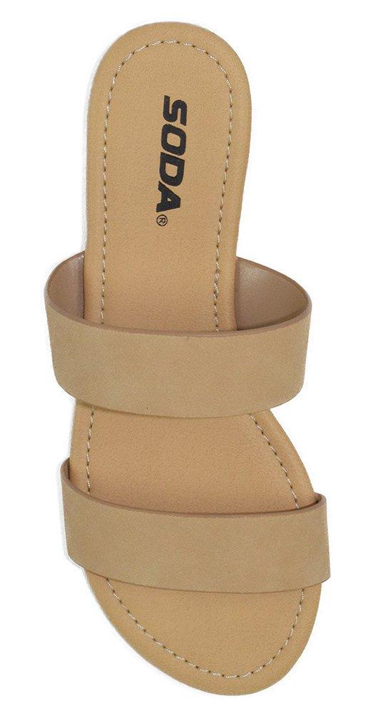 Soda Shoes Women Flip Flops Flat Basic Gladiator Sandals Beach Slides Double Straps Browse-H Skin Nude Beige 10