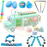 Oxsaytee Toddler Musical Instruments Set, 11PCS Kids Wooden Percussion Instruments Toy with Dragging Xylophone Bus, Educational Learning Toys Bus with Storage, for 2,3,4,5+Boys, Girls