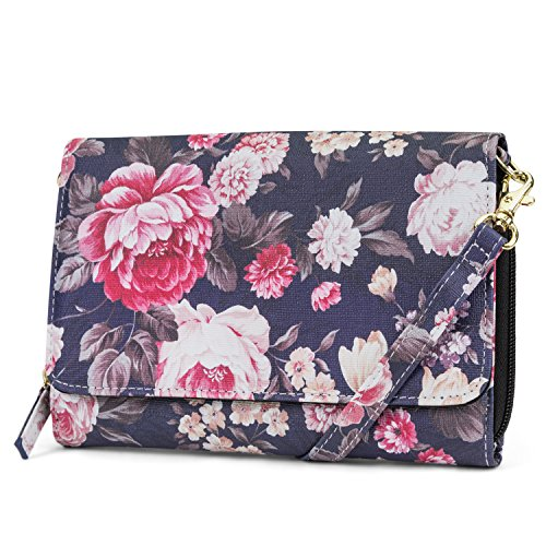 Wallet Women Anti Leather Crossbody Mundi Travel Vegan Purse For Bag Handbag Sea Theft RFID Bloom xnwqCvwg