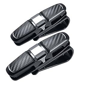 180° Rotational Glasses Holder Clip for Car Sun Visor,Gudior Multifunctional Double Sunglasses Mount Eyeglasses Clip Cash Card Holder for Auto Sun Visor (Two Packs)