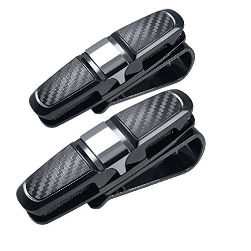 180° Rotational Glasses Holder Clip for Car Sun Visor,Gudior Multifunctional Double Sunglasses Mount Eyeglasses Clip Cash Card Holder for Auto Sun Visor (Two - Sunglasses Gd