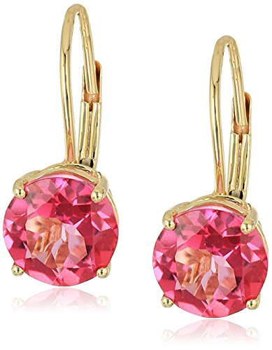 10k Yellow Gold Pink Topaz Round Lever Dangle Earrings