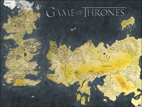 Game Of Thrones Metallic Map Thick Cardstock Poster   31 5X23 5