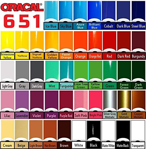 Oracal 651 Choose Your Own Colors Multi-Roll Pack 12'' x 60'' per roll w/Squeegee (12 Rolls)