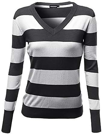 Basic V Neck Stripe Pull Over Knit Sweaters Navy Size S