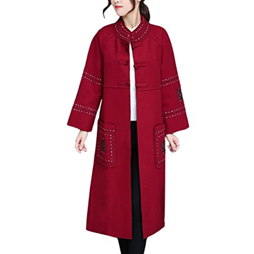 Zhuhaitf Moda para Mujer Fashion Design Chinese Japan Style Embroidery Thicken Warm Long Winter Coat...