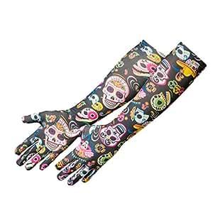 NET TOYS Guantes Calaveras Guantes de Mujer Sugar Skull La Catrina cubrebrazos sin Dedos Accesorio Día de los Muertos Complemento Fiesta Tradicional Mexicana Moda gótica Halloween