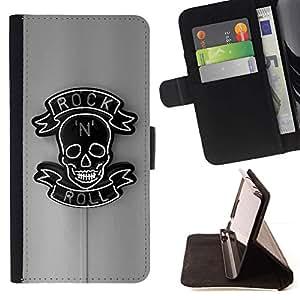 Momo Phone Case / Flip Funda de Cuero Case Cover - Rollo de la roca gris Negro Muestra de neón N Skull - Apple Iphone 5C