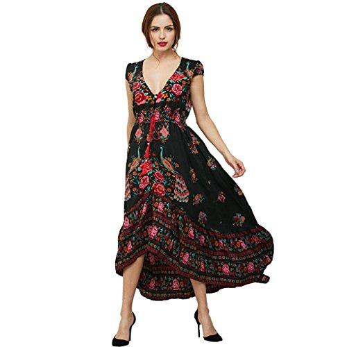vestido de la cintura de las mujeres retro de manga corta de la gasa de las flores Black