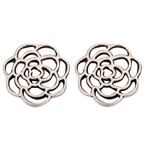 20 x Beautiful Flower Charms Beads 16mm Antique Silver Tone for Charms Bracelet Necklace Jewelry Findings #mcz1097