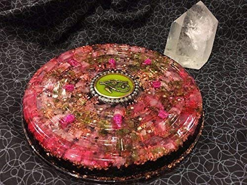 (Extra Large Orgone Charging Disc with Rose Quartz, Peridot, Rhodizite, Shungite and Eye of Horus, 8 in)