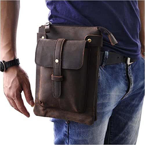 Le'aokuu Mens Genuine Leather Coffee Fanny Small Messenger Shoulder Waist Bag Pack