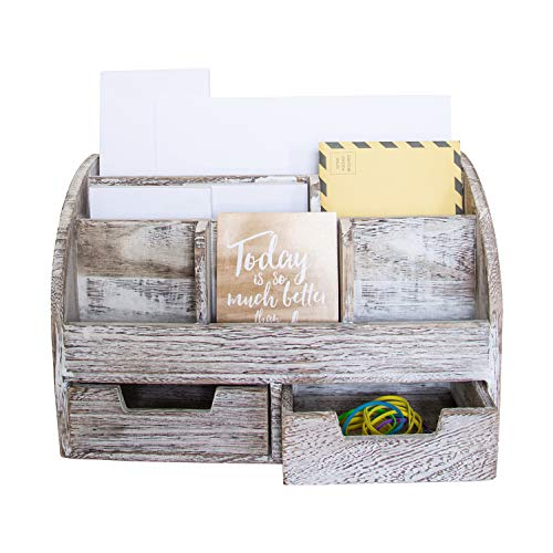 Rustic Wooden Desk Organizer for Home or Office - Mail Rack for Desktop, Tabletop, or Counter - Desk Supplies Organizer with 2 Drawers and 6 Compartments - Rustic White Workspace Organizer (Wooden Organizer Mail)