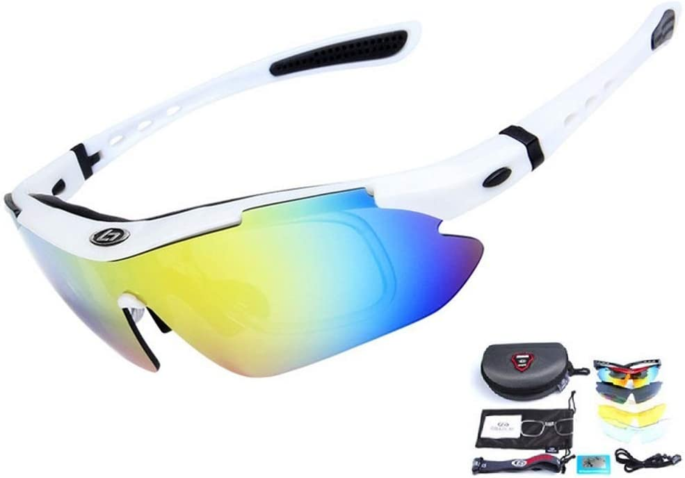 Rungear Polarized Sports Sunglasses UV400 with 5 Interchangeable Lenes for Men Women Hiking Cycling Running Driving Fishing Golf Baseball Ski Glasses